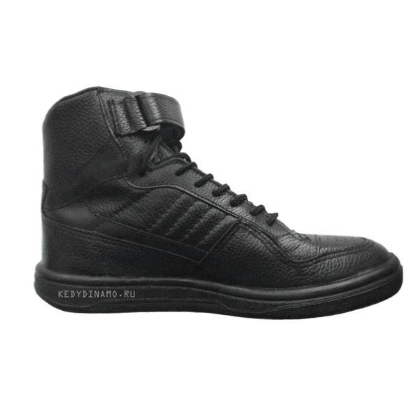 Купить кожаные кроссовки черные высокие