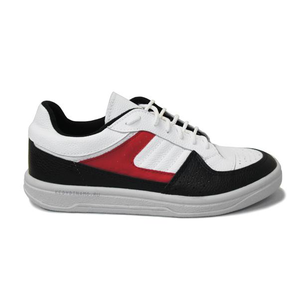 Кроссовки бело-черно красные