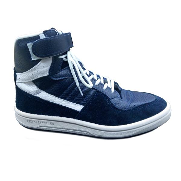 Высокие синие кожаные кроссовки