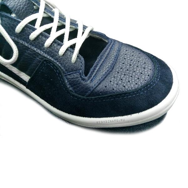 Кроссовки высокие кожаные синего цвета