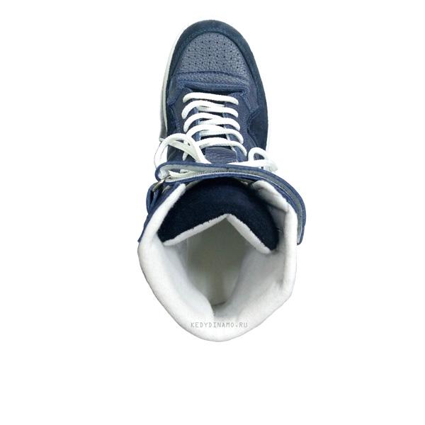 Кроссовки синие из кожи